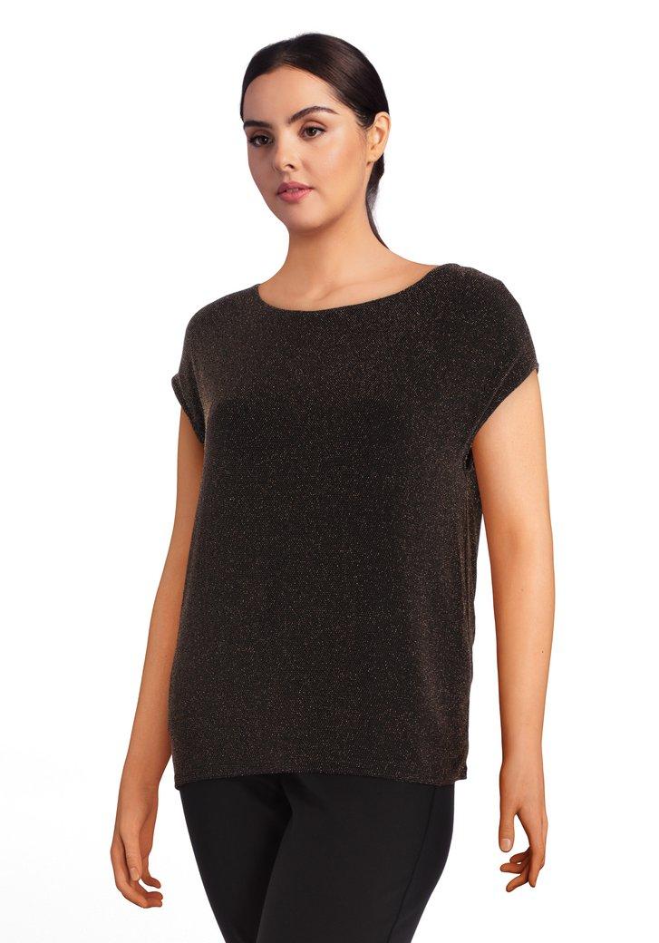 T-shirt noir avec tissu texturé doré