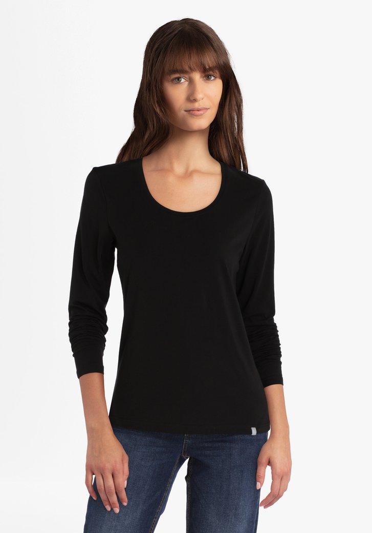 T-shirt noir en coton stretch à manches longues