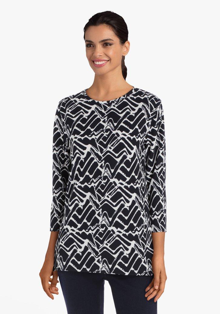 T-shirt noir et blanc à motif géométrique