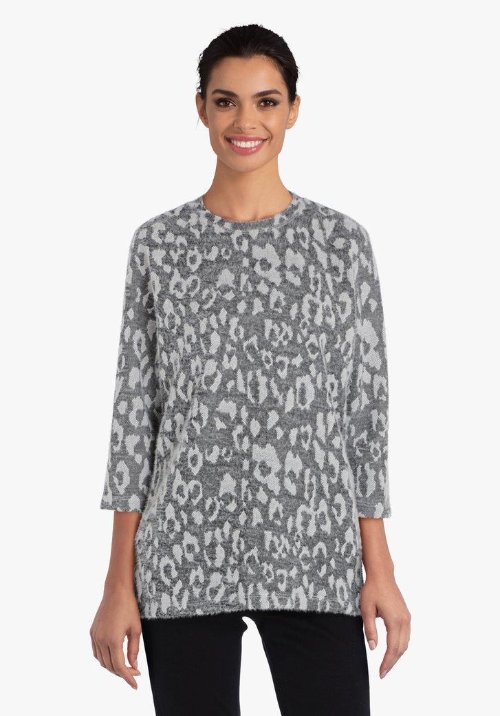T-shirt noir/gris avec imprimé blanc