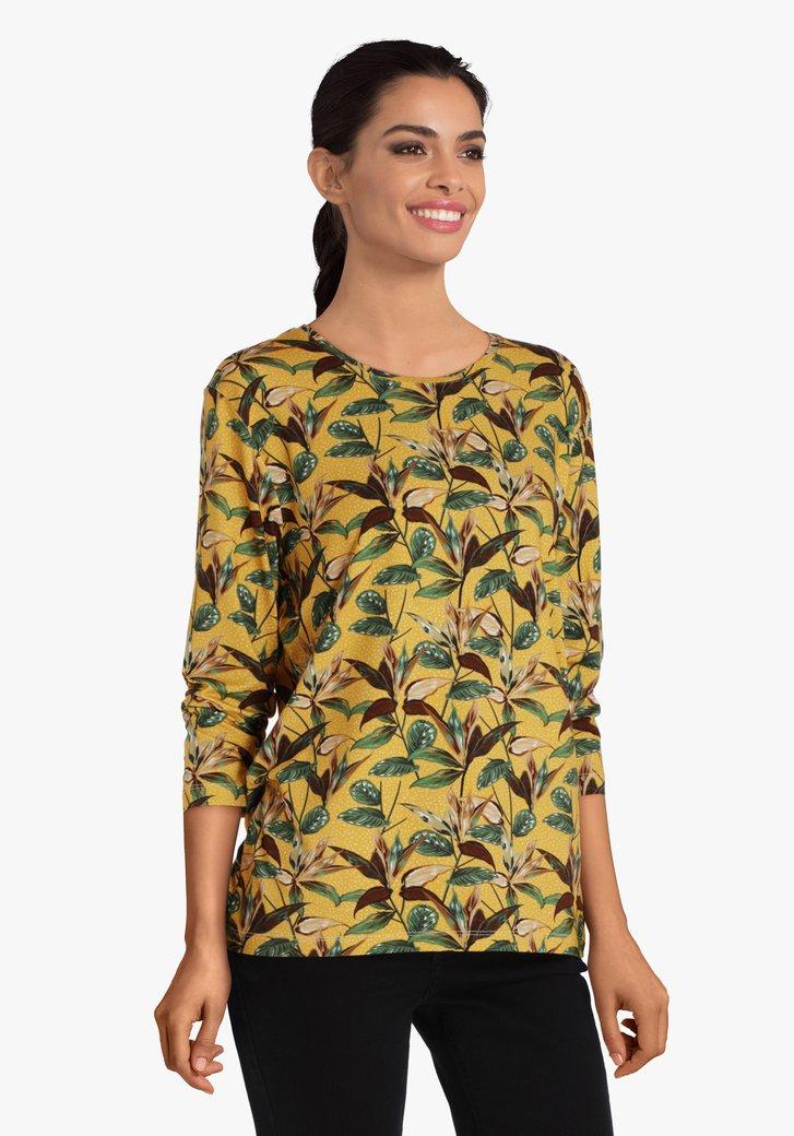 T-shirt ocre avec impression de feuilles