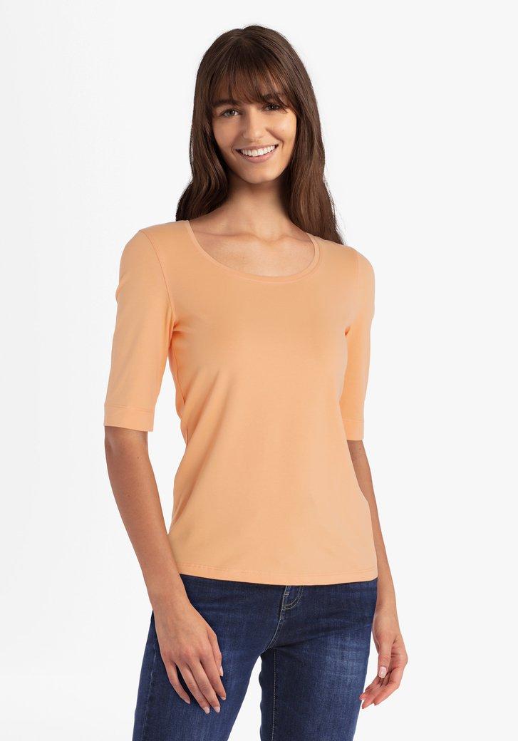 T-shirt orange à col rond
