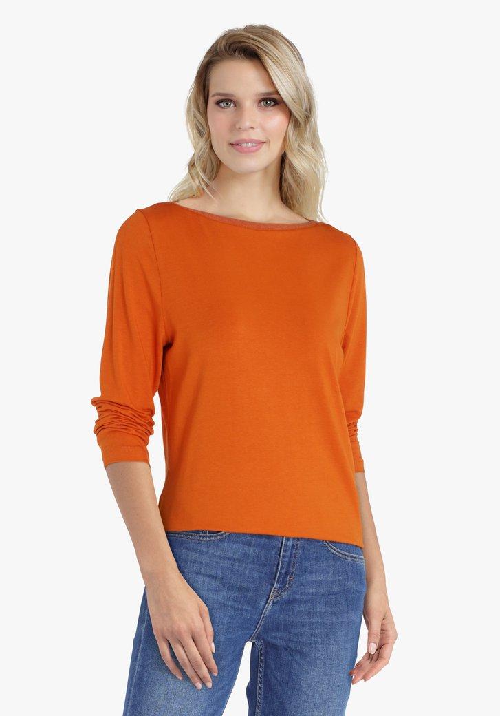 T-shirt orange à manches 3/4