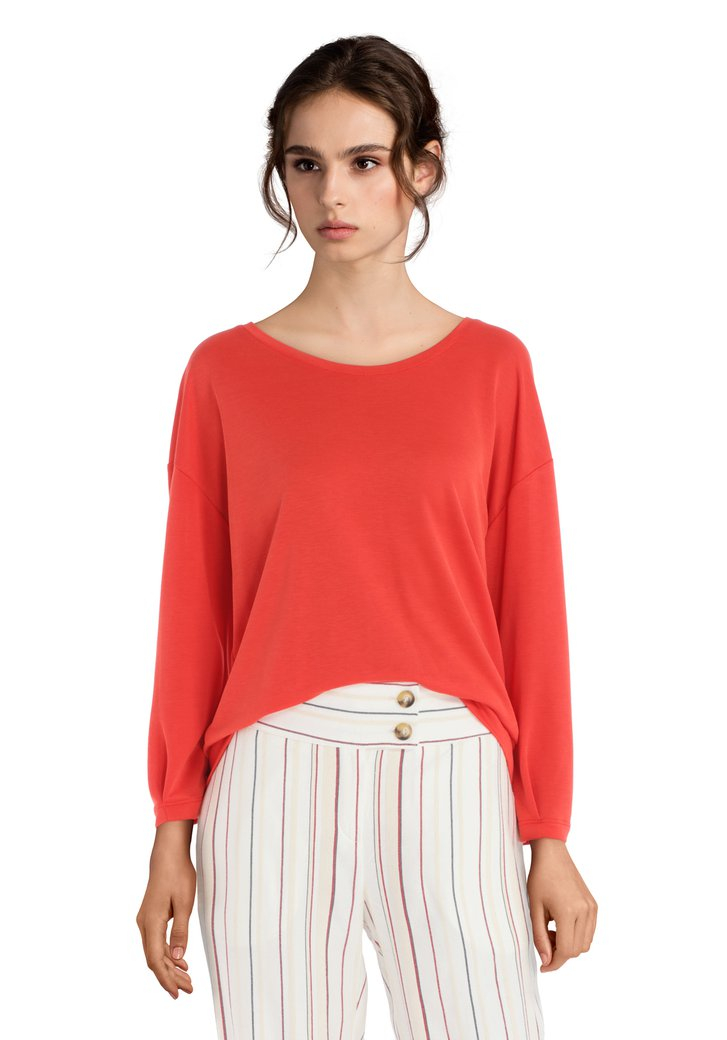 T-shirt orange à manches longues