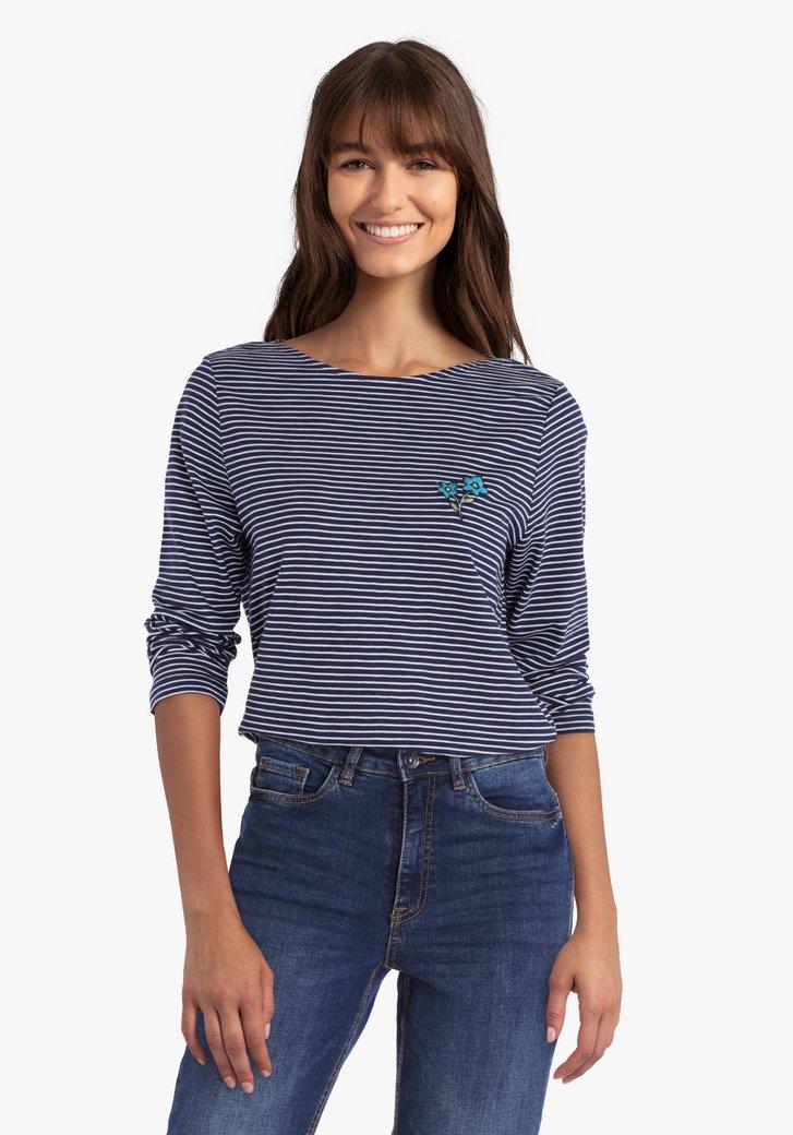 T-shirt rayé blanc- bleu marine