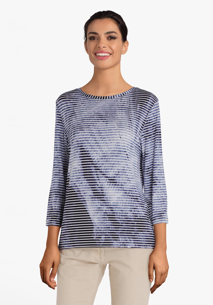 T-shirt rayé blanc et bleu marine