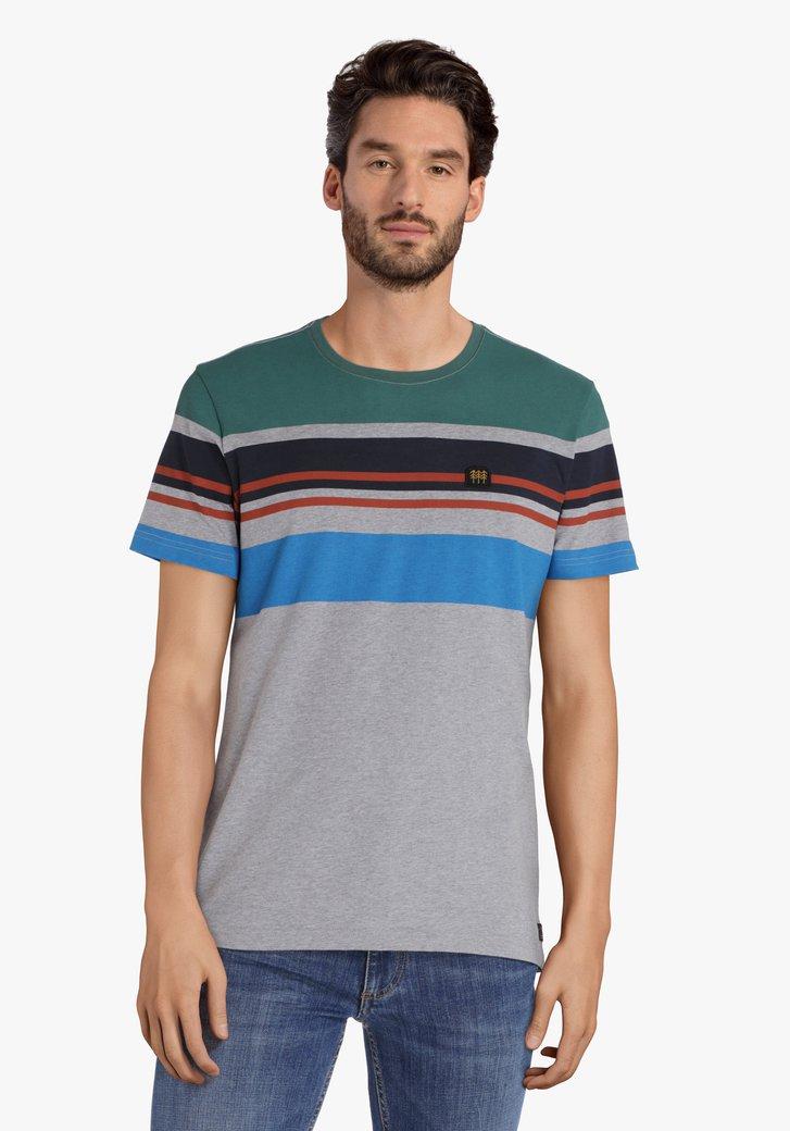 T-shirt rayé gris à col rond