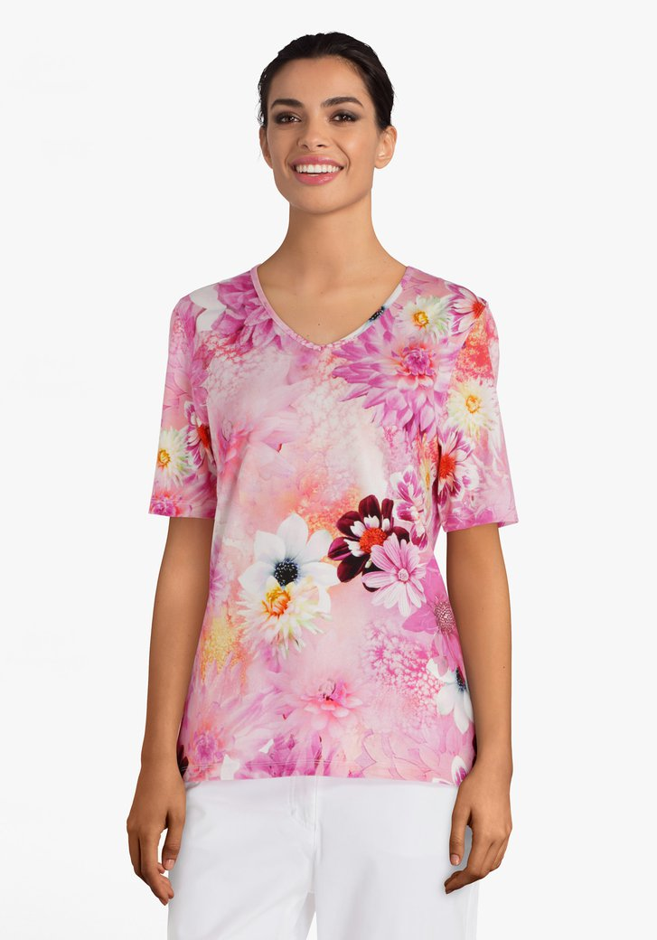 T-shirt rose à grand imprimé floral