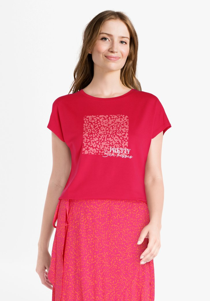 T-shirt rose à imprimé