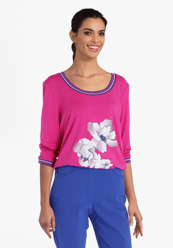 T-shirt rose à imprimé floral