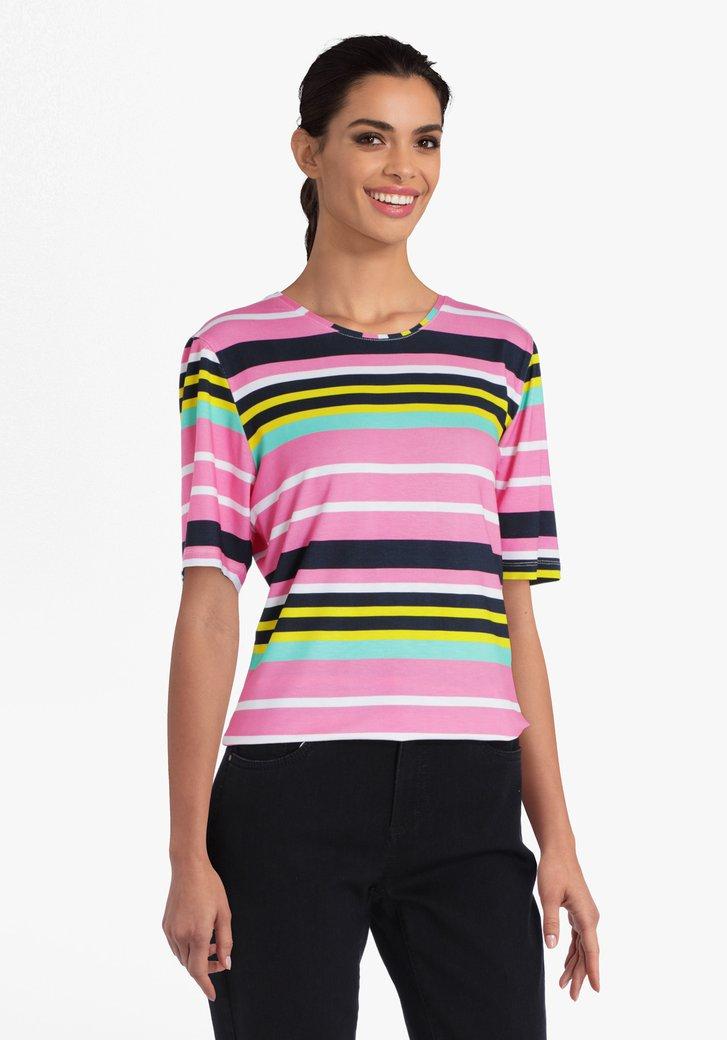 T-shirt rose à rayures colorées