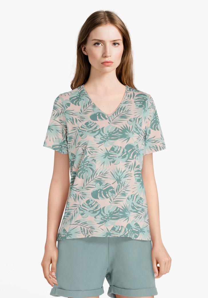 T-shirt rose clair à impression de feuilles vertes