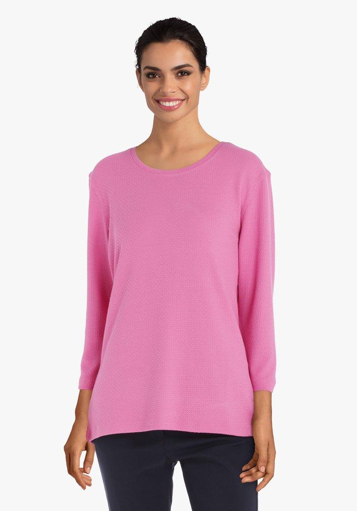 T-shirt rose en tissu texturé