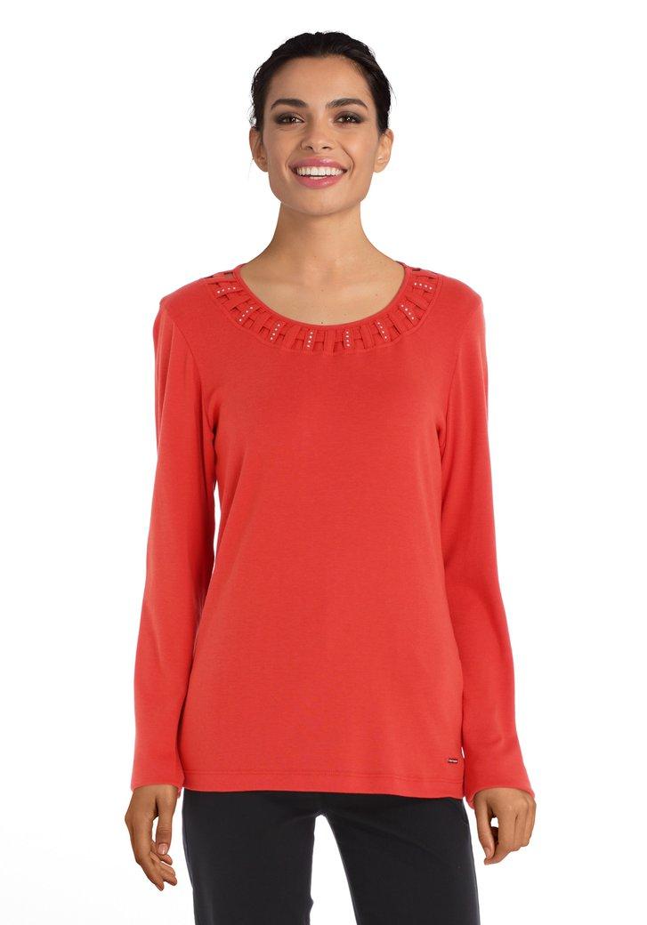 T-shirt rouge avec strass