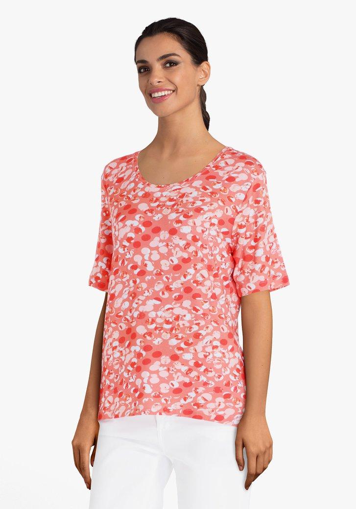 T-shirt rouge corail à imprimé