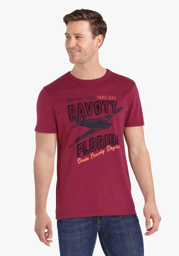 T-shirt rouge violet avec imprimé