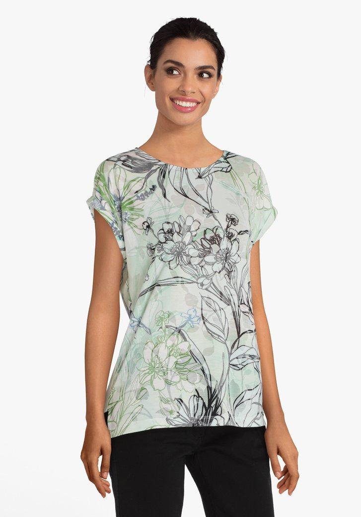 T-shirt vert à grand imprimé floral