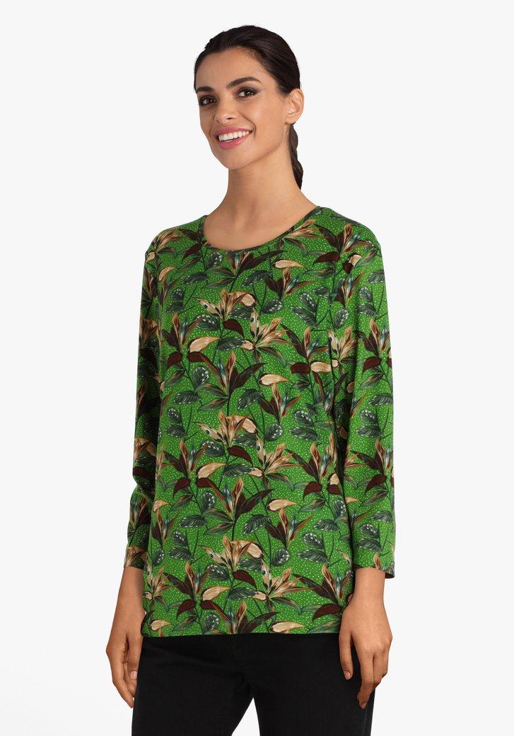 T-shirt vert avec impression de feuilles
