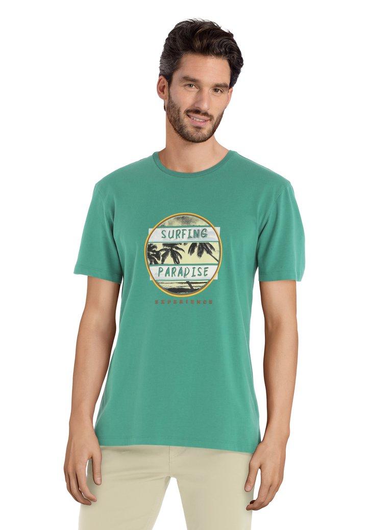 T-shirt vert avec imprimé et col rond