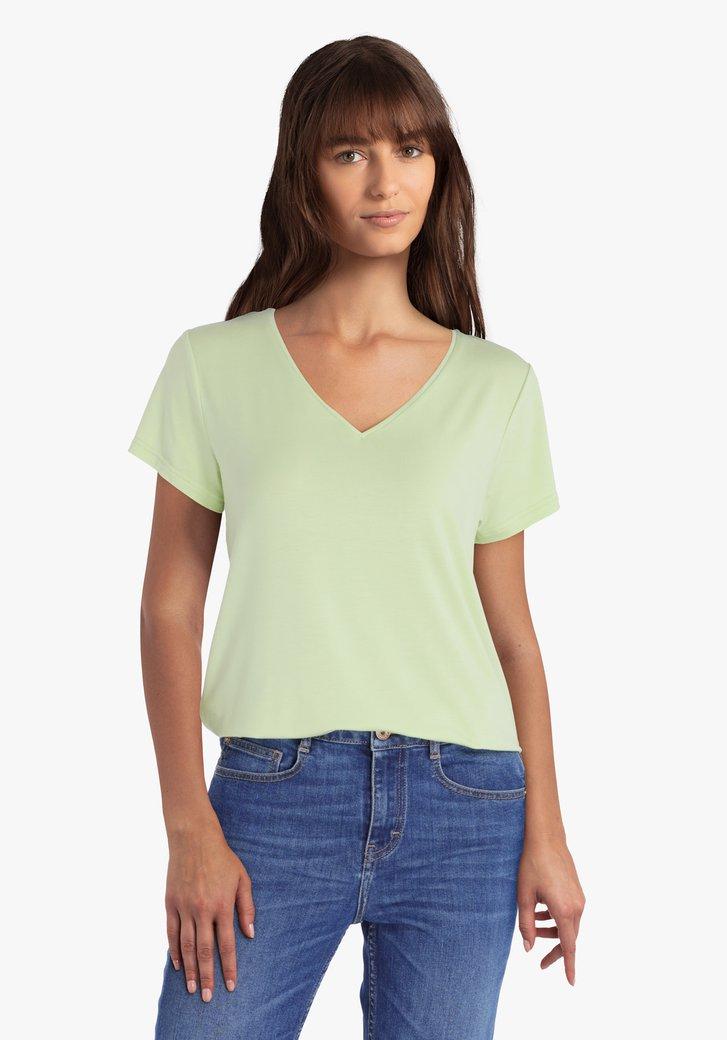 T-shirt vert clair avec col en V