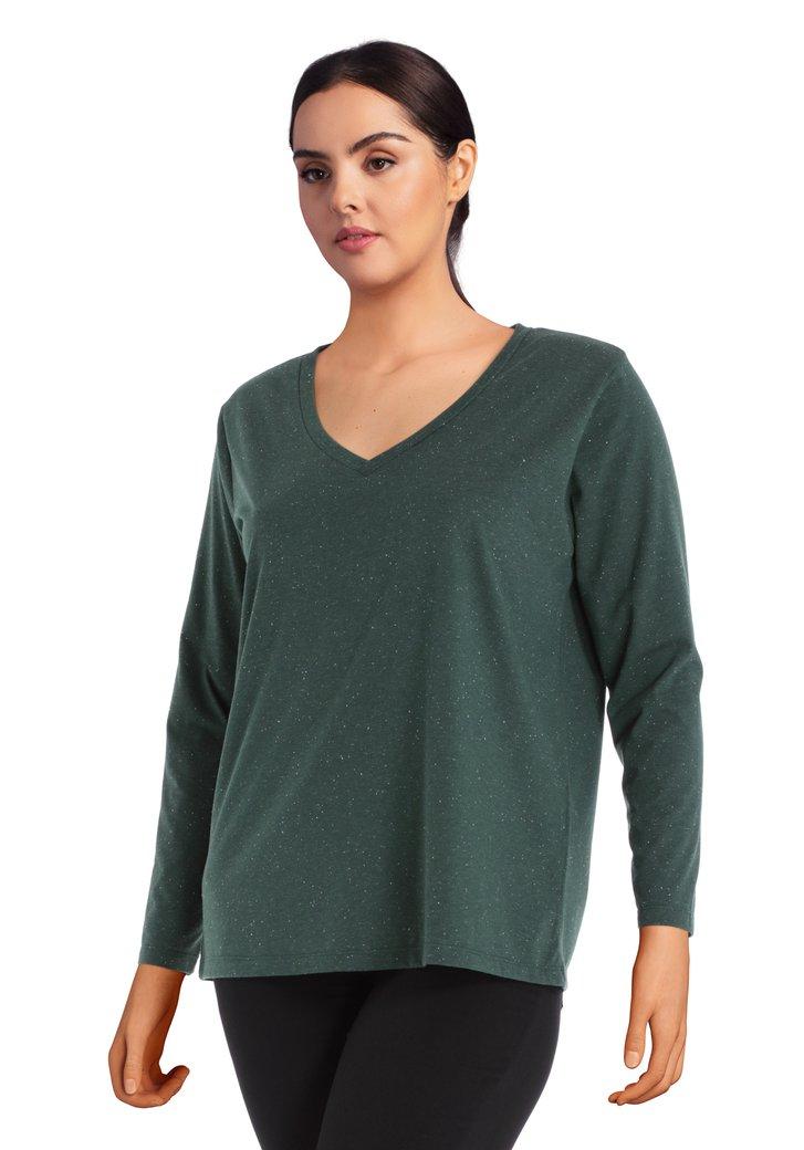 T-shirt vert foncé à col en V et mouchetures