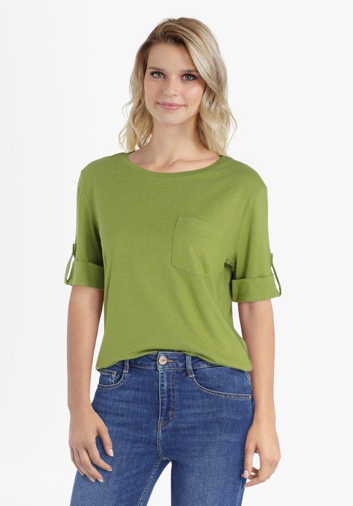 T-shirt vert olive à manches roulées