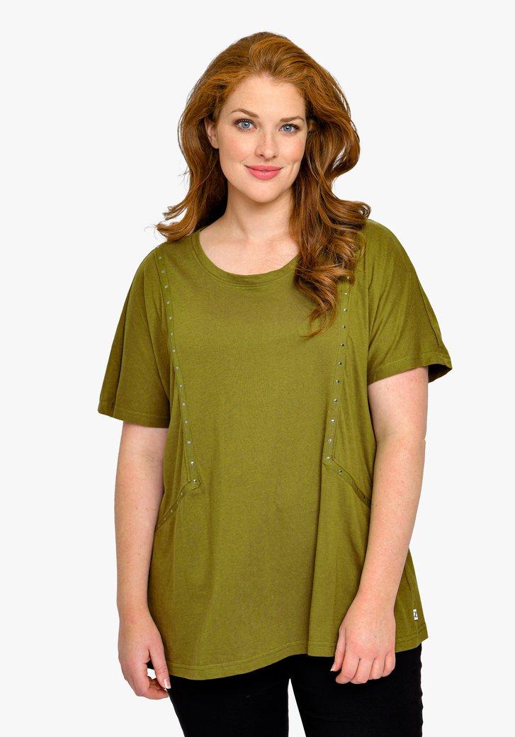 T-shirt vert olive avec des clous