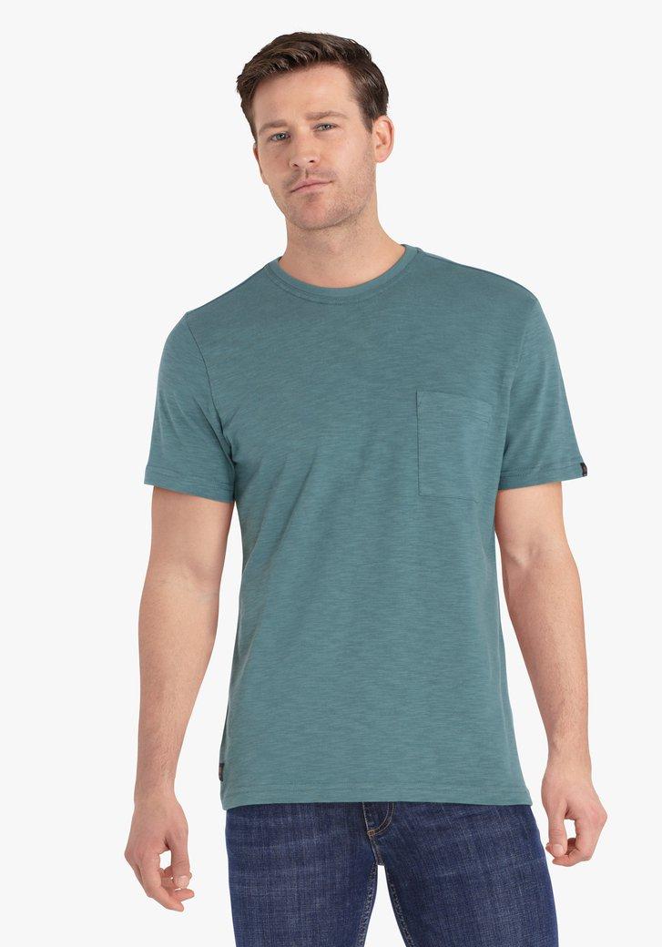 T-shirt vert pétrole avec poche de poitrine