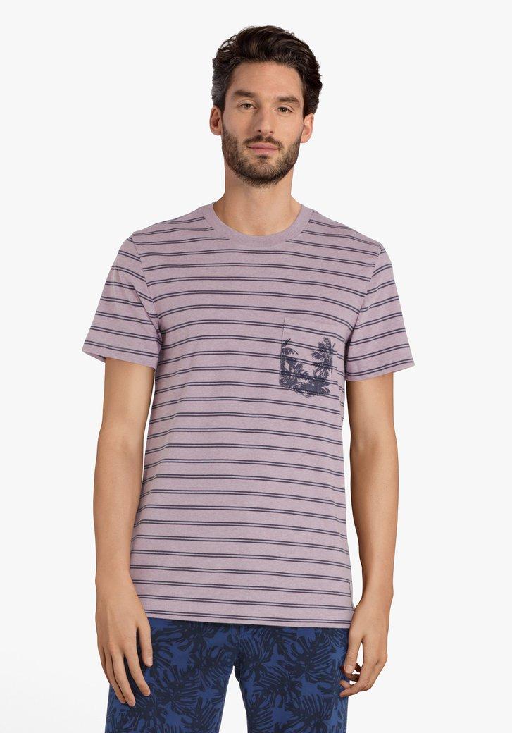 T-shirt vieux rose à rayures
