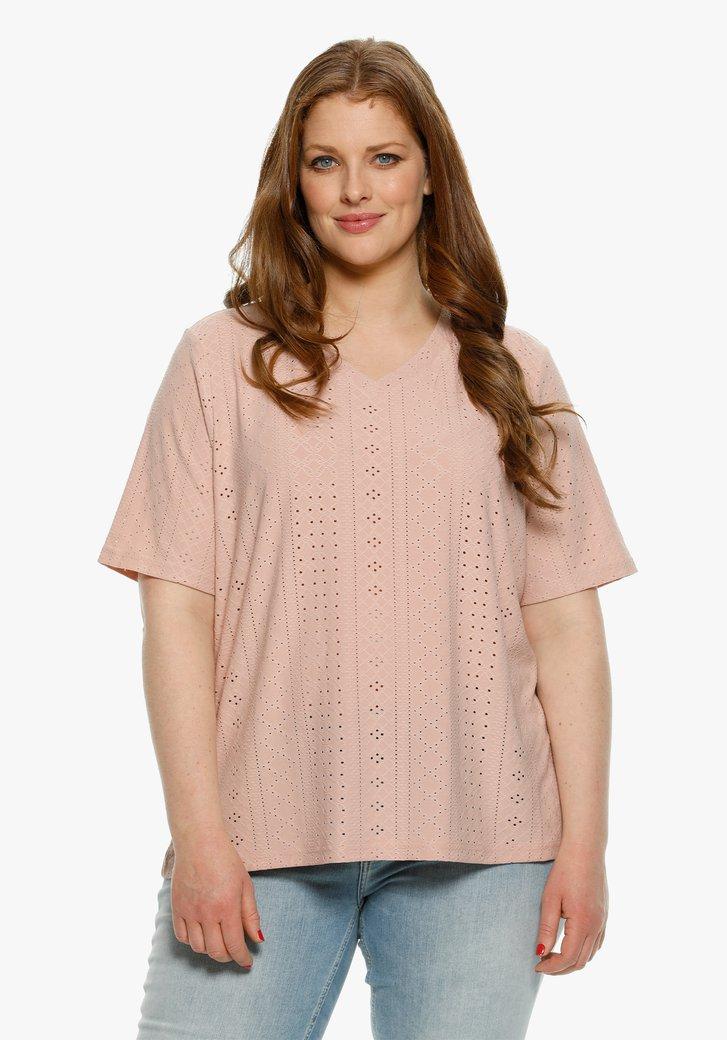 T-shirt vieux rose en tissu texturé