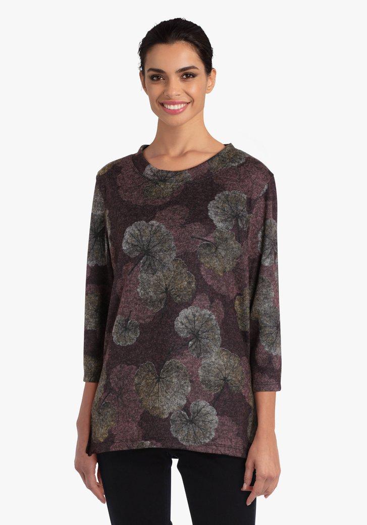 T-shirt violet à imprimé de feuilles