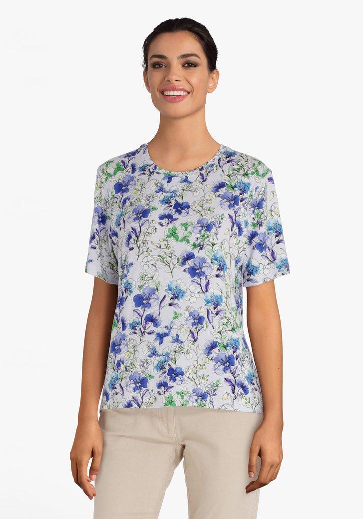 T-shirt violet clair à motif à fleurs estivales