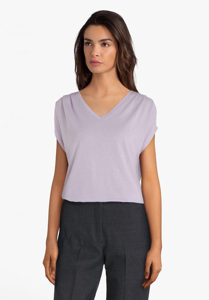 T-shirt violet clair avec col en V