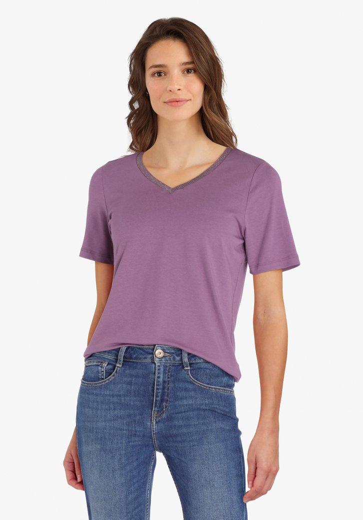 T-shirt violet clair avec col en V pailleté