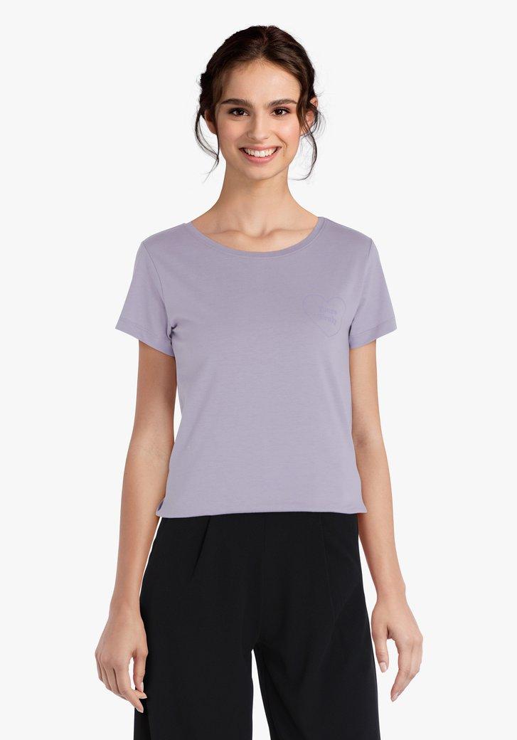 T-shirt violet pastel avec inscription