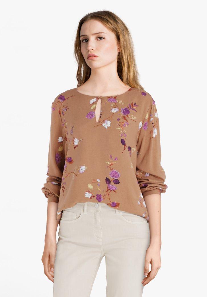 Taupe blouse met fijne bloemenprint