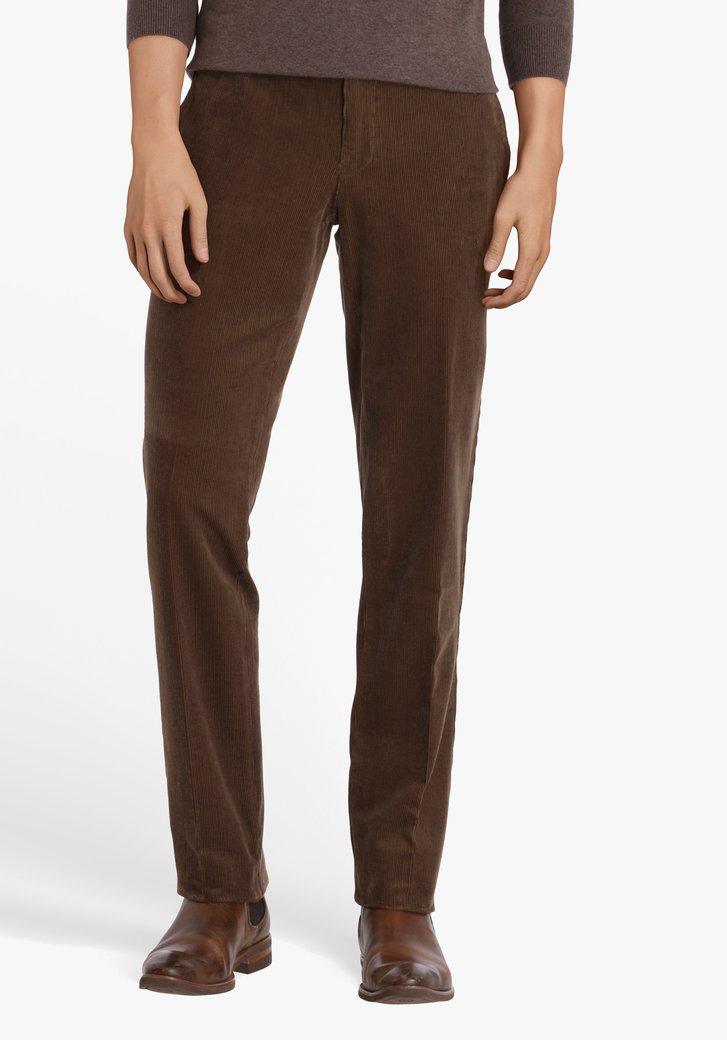 Taupe broek in ribfluweel-Louisiana-regular fit