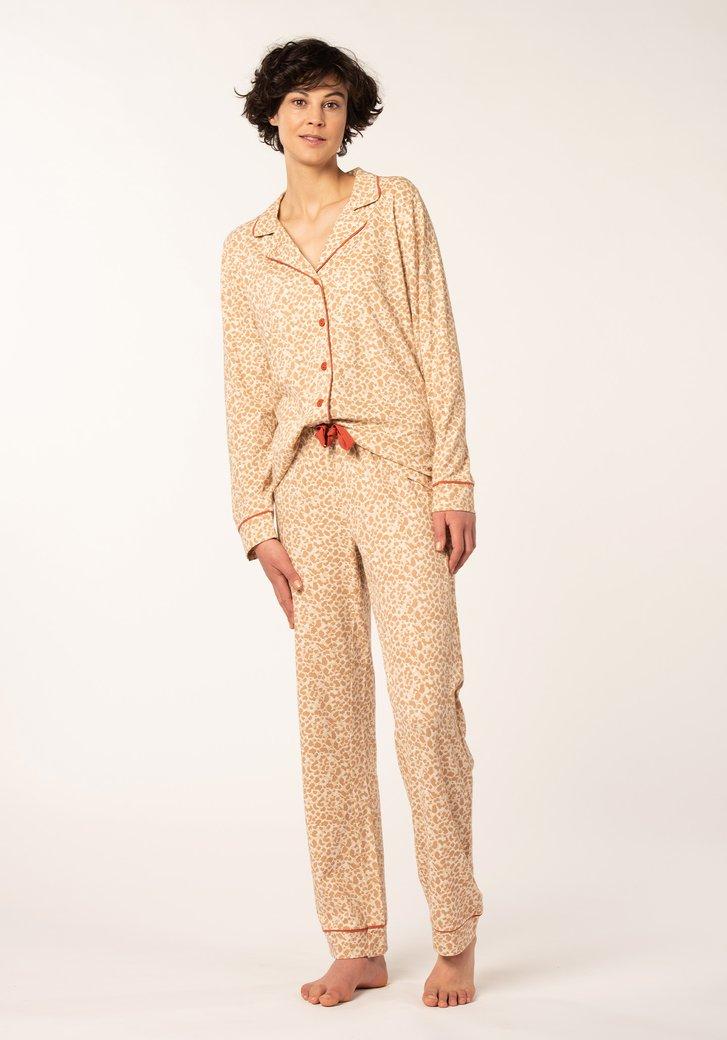 Taupe pyjama met hemd - panterprint