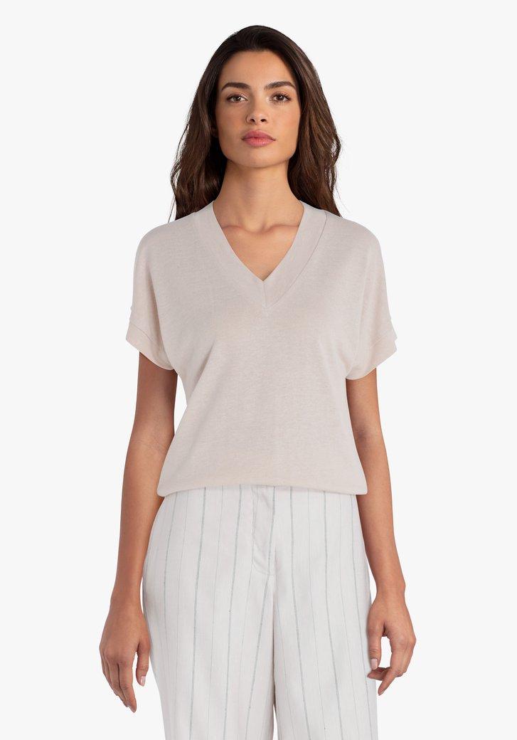 Taupe T-shirt met V-hals