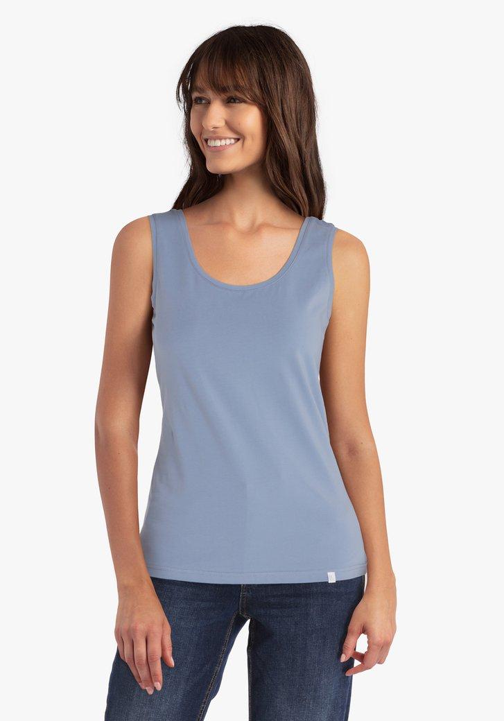 Top en coton stretch bleu claire