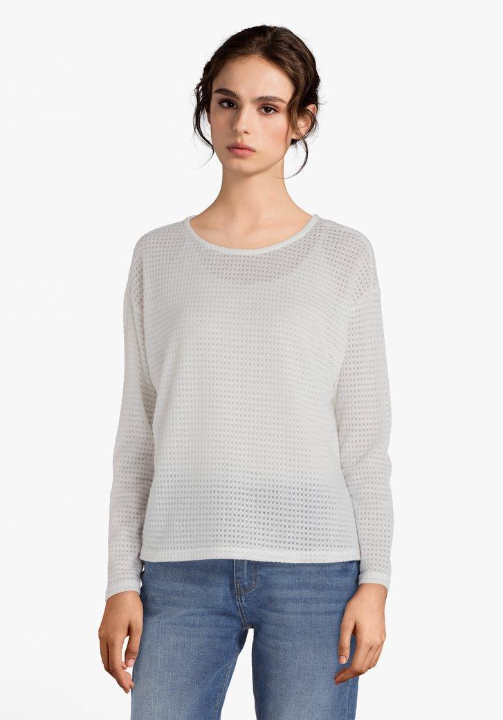 Top tricoté écru à manches longues