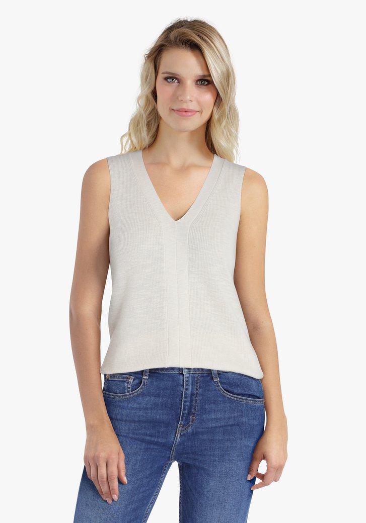 Top tricoté en blanc cassé avec col en V