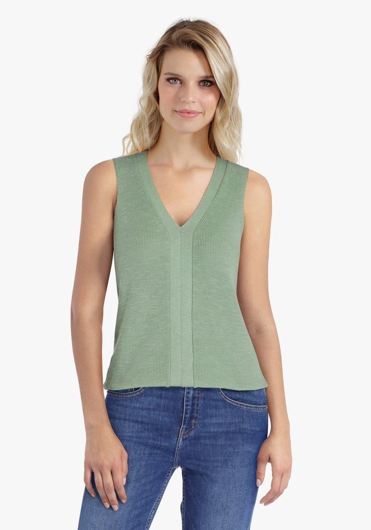 Top tricoté en vert de mer avec col en V