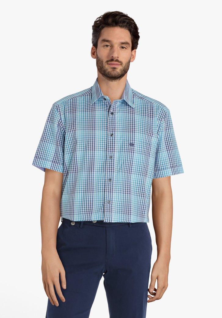 Turquoise geruit hemd - comfort fit