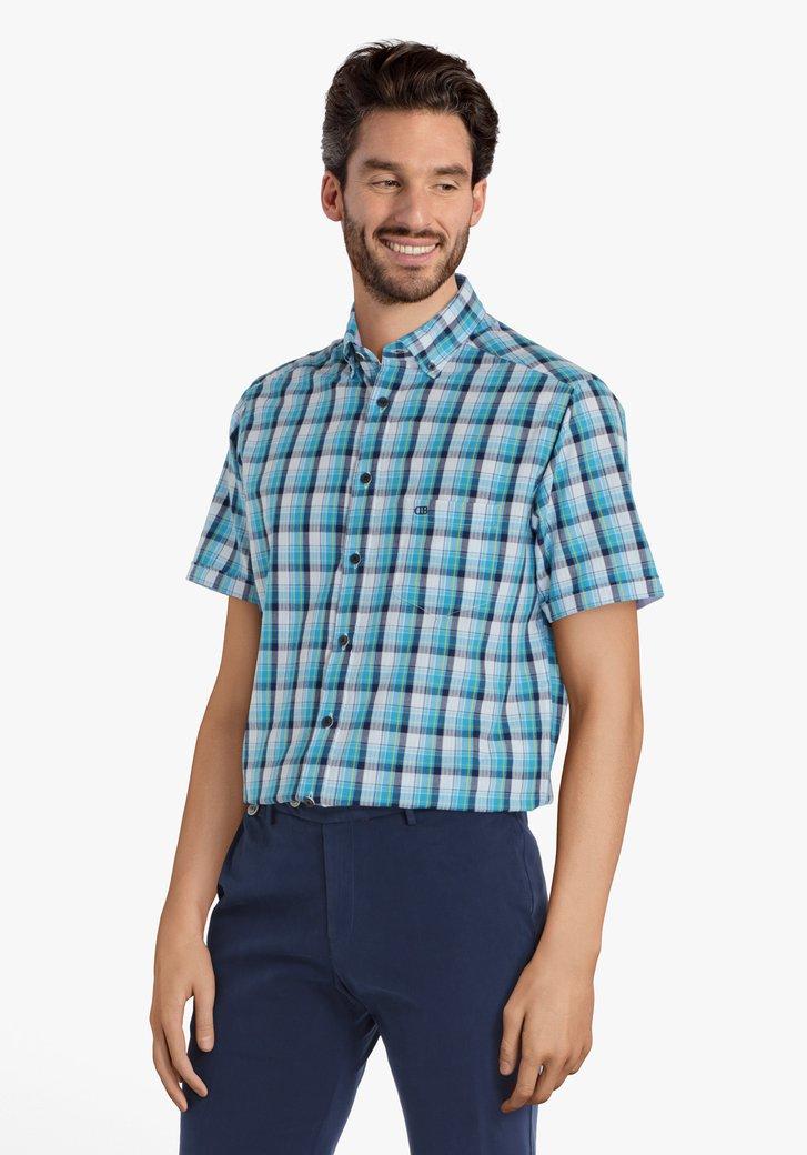 Turquoise geruit hemd met structuur - regular fit
