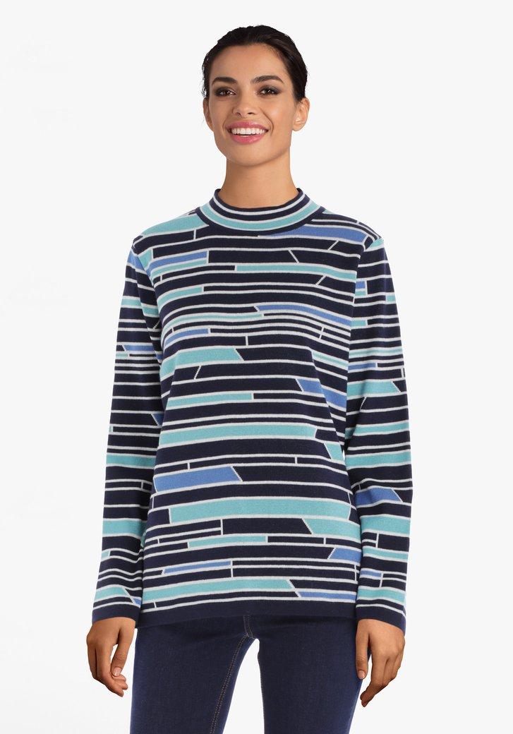 Afbeelding van Turquoise gestreepte trui