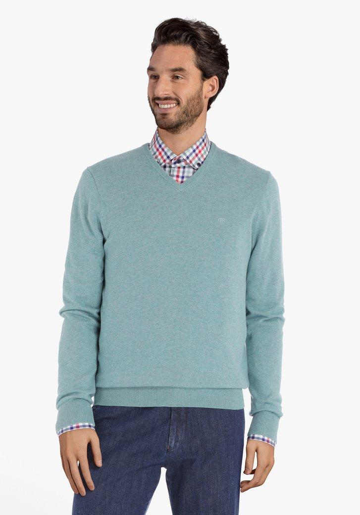 Turquoise katoenen trui met geribde V-hals
