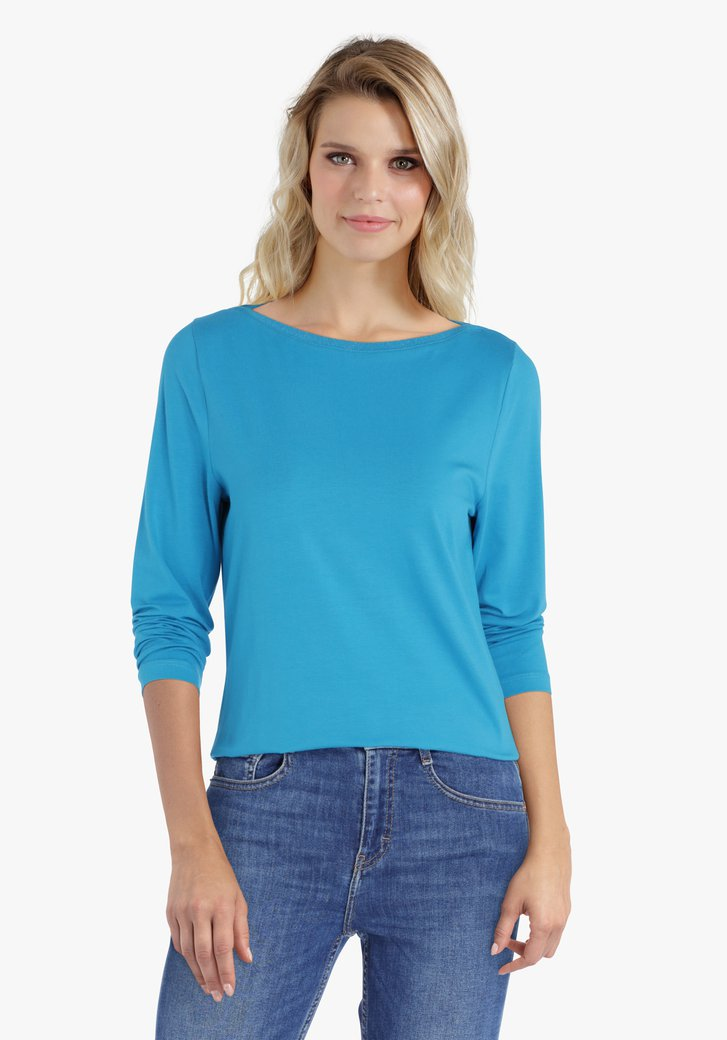 Turquoise T-shirt met 3/4 mouwen