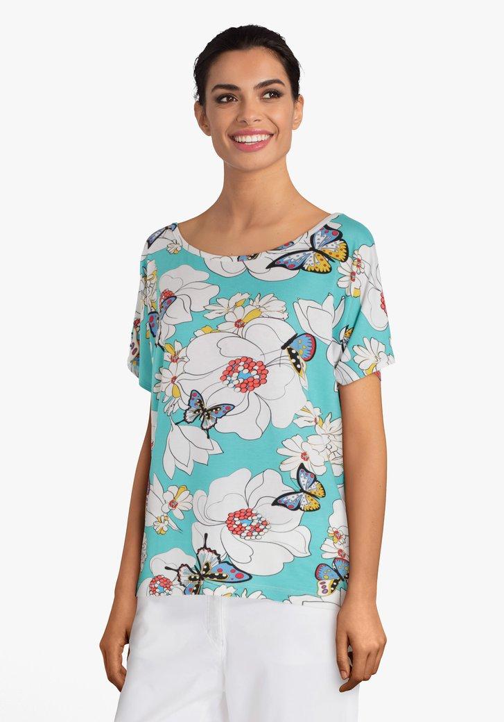 Turquoise T-shirt met bloemenprint en kapmouwen