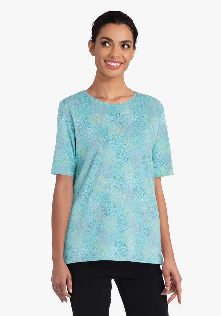 Turquoise T-shirt met fijne bladerprint